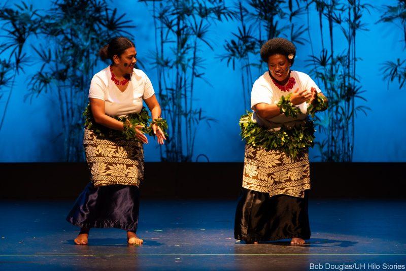 Fijian dancers in traditional dress.