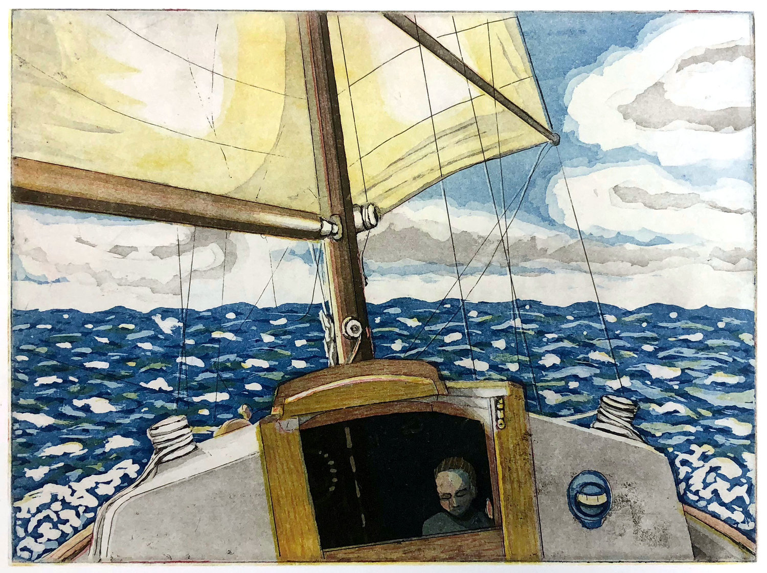 Sailboat at sea with lone person in cabin. Blue ocean, yellow sail, clouds.