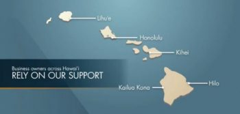 Map of Hawaiian islands with locations marked in Lihue, Honolulu, Kihei, Hilo and Kona.