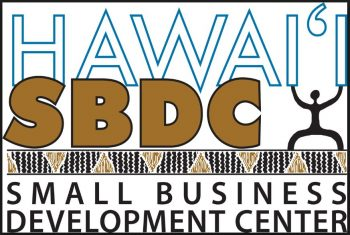 Logo in blue and brown: Hawaii SBDC Small Business Development Center