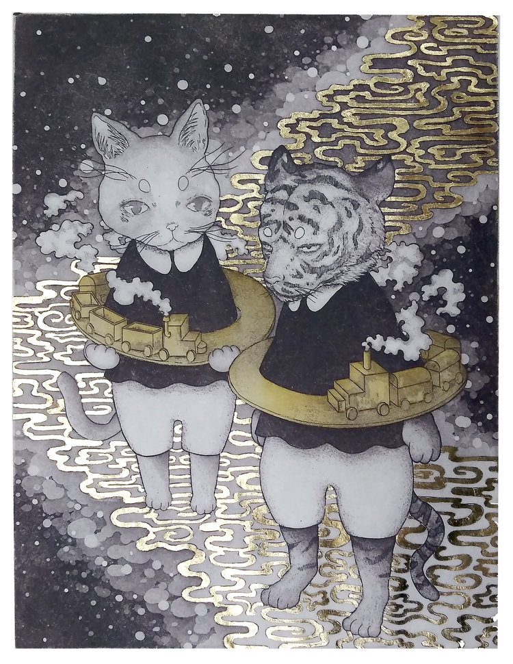 Two cats in knickers with belts of choo-choo trains.