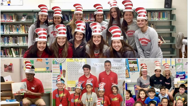 Collage of students in Dr. Seuss hats.