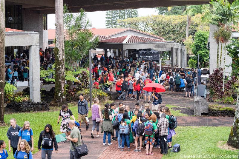 Crowds at the fair on the library lanai.