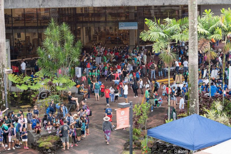 Overhead view of crowds at the fair. on the library lanai.