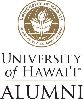 Gold UH System logo with the words University of Hawaii Alumni, Ua mau ke ea o ka aina i ka pono.