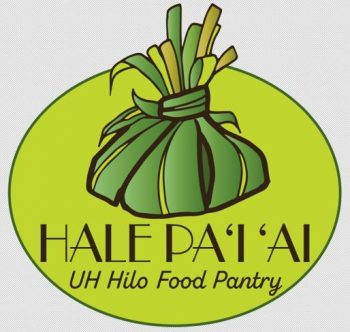 Logo is grren, graphic design of food bundled in ti leaf with the words: Hale Pai Ai UH Hilo Food Pantry.
