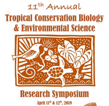 Logo with graphic design of bird, turtle, taro, lehua. Words: 11th Annual Tropical Conservation Biology and Environmental Science Research Symposium, April 11th & 12th, 2019. Brown on white background.