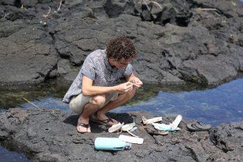 Nic examining debris on the rocky shore.