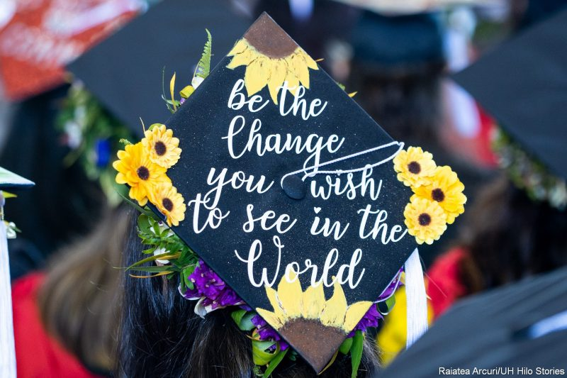Mortarboard with words: Be the Change you wish to see in the World.