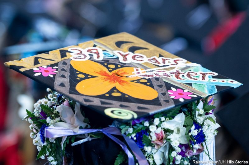 Mortarboard with words: 39 years later...