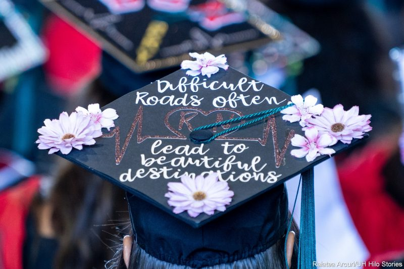 Mortarboard with words: Difficult roads often lead to beautiful destinations