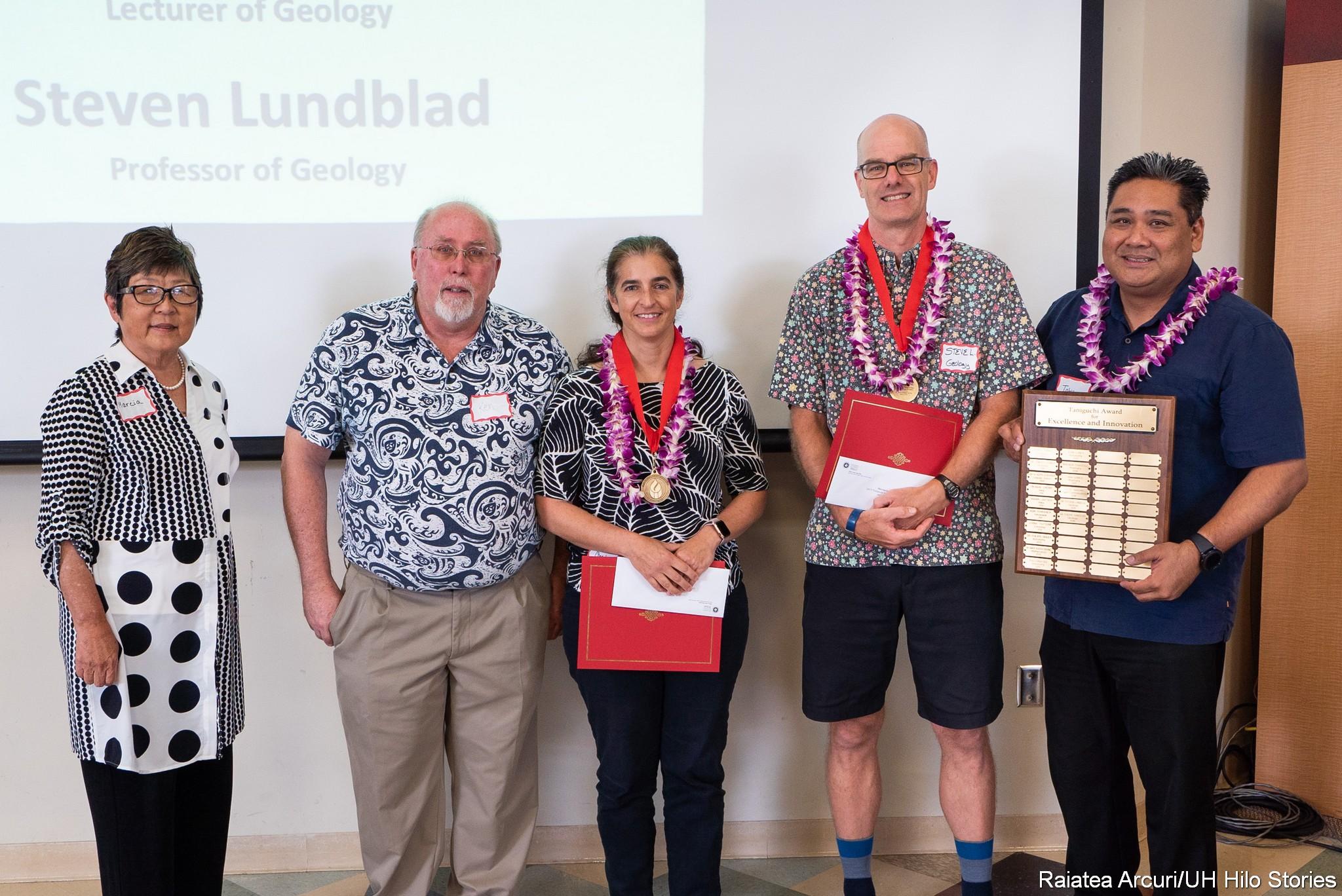 Marcia Sakai, Ken Hon, heryl Gansecki, Steve Lundblad. and Toby Taniguchi stand for group photo.