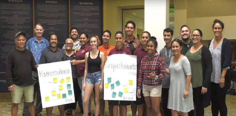 Group photo with the names Kamo'oalewa and Ka'epaoka'āwela displayed on large posters in front of the group.
