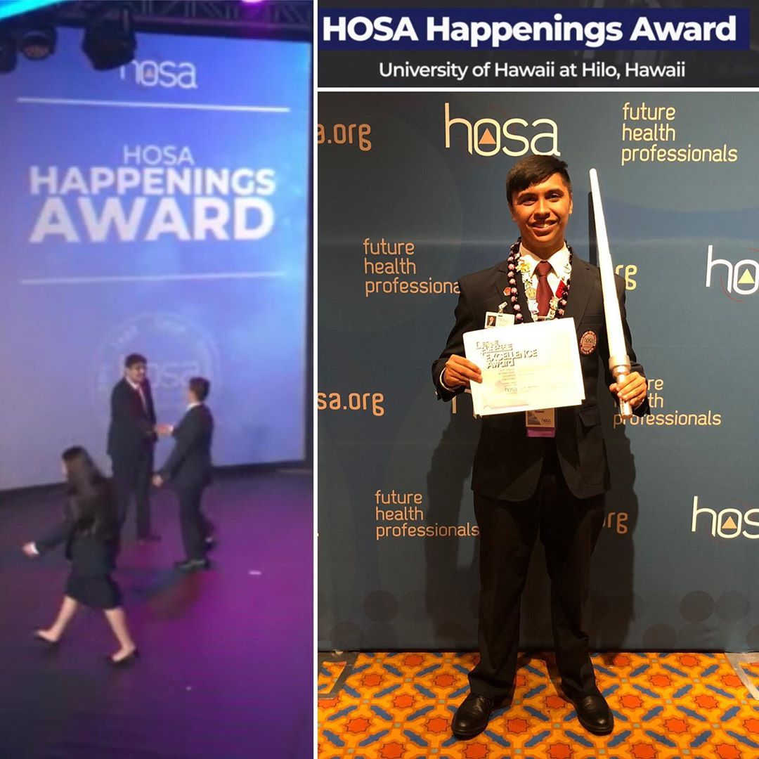 At left is a photo of HOSA members coming up on stage for recognition at the event. At right is a photo of Travis holding his award.