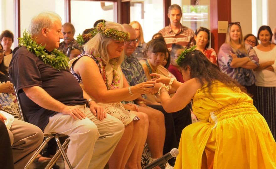 New UH Hilo chancellor, Bonnie D. Irwin, welcomed with traditional kīpaepae ceremony