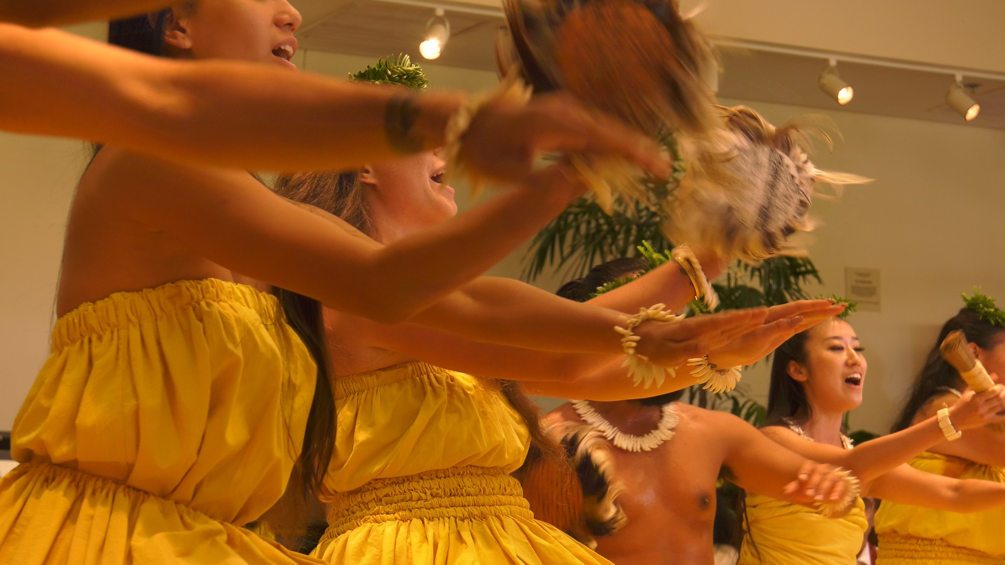 Dancers arms move during dance.