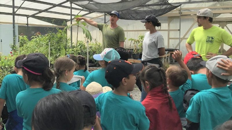 Three adults showing group of children the greenhouse.