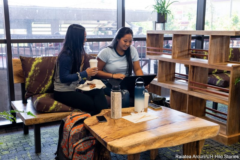 Two students sit in new furniture made of local woods, with coffee table of same woods. One student is on a laptop. In the back are windows looking out over the Library Lanai.