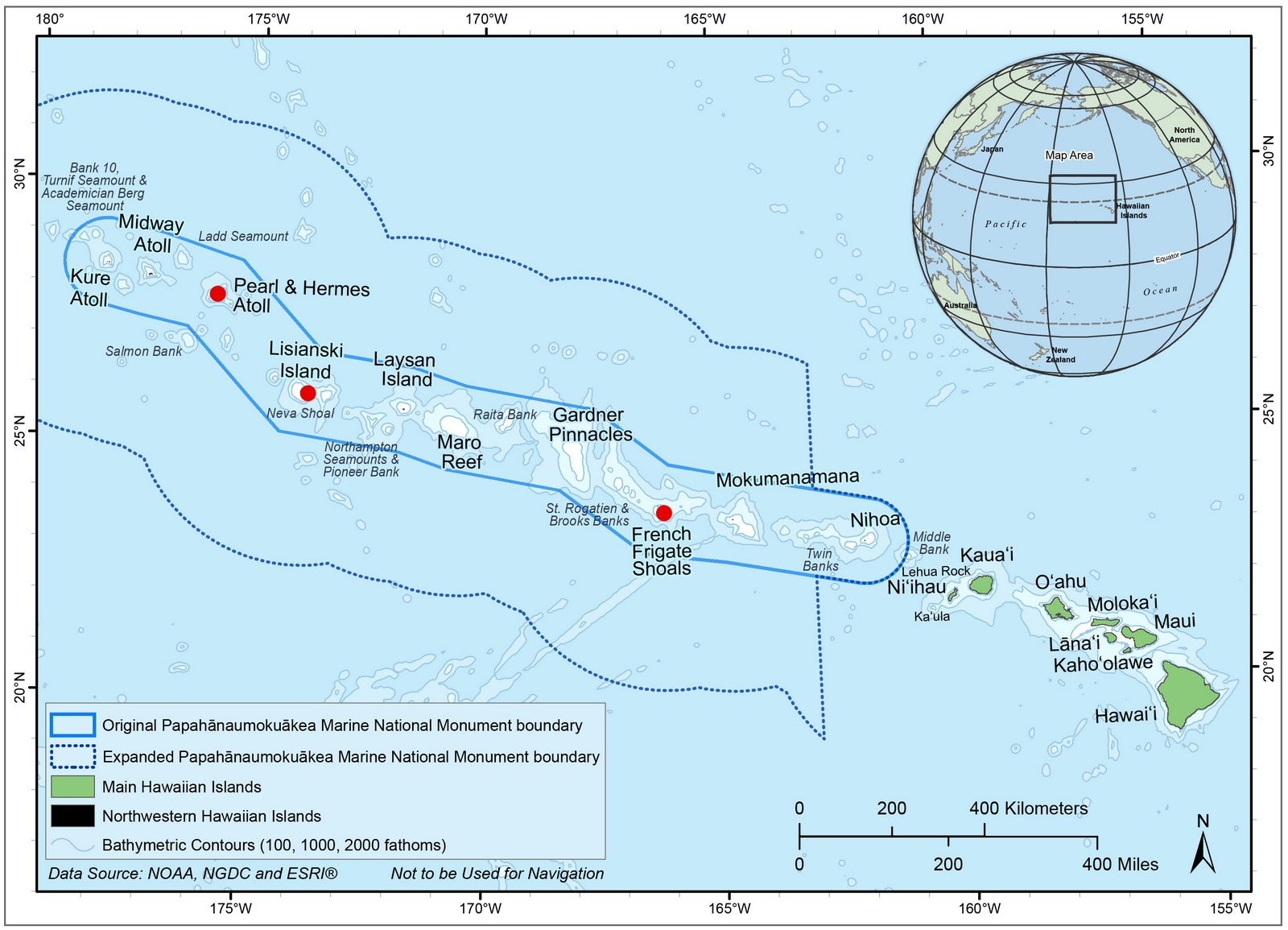 Map showing the atolls of the Papahānaumokuākea Marine National Monument. Red dots note the three areas surveyed by the research team.