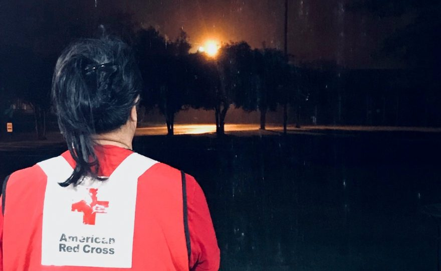 Answering the call: UH Hilo office assistant and Red Cross volunteer Marilani Marciel helps evacuees fleeing Hurricane Dorian