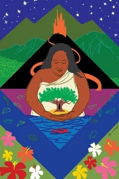 Artwork of Narrissa with volcano in background, she has her hands drawn together under image of tree, red fish below in ocean, tree image on her front.