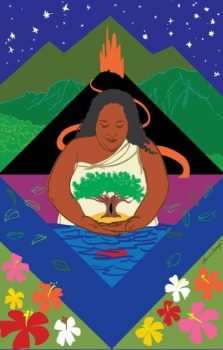 Artwork of Narrissa with volcano in background, she has her hands in the ocean cradling fish, and has a tree image on her front.