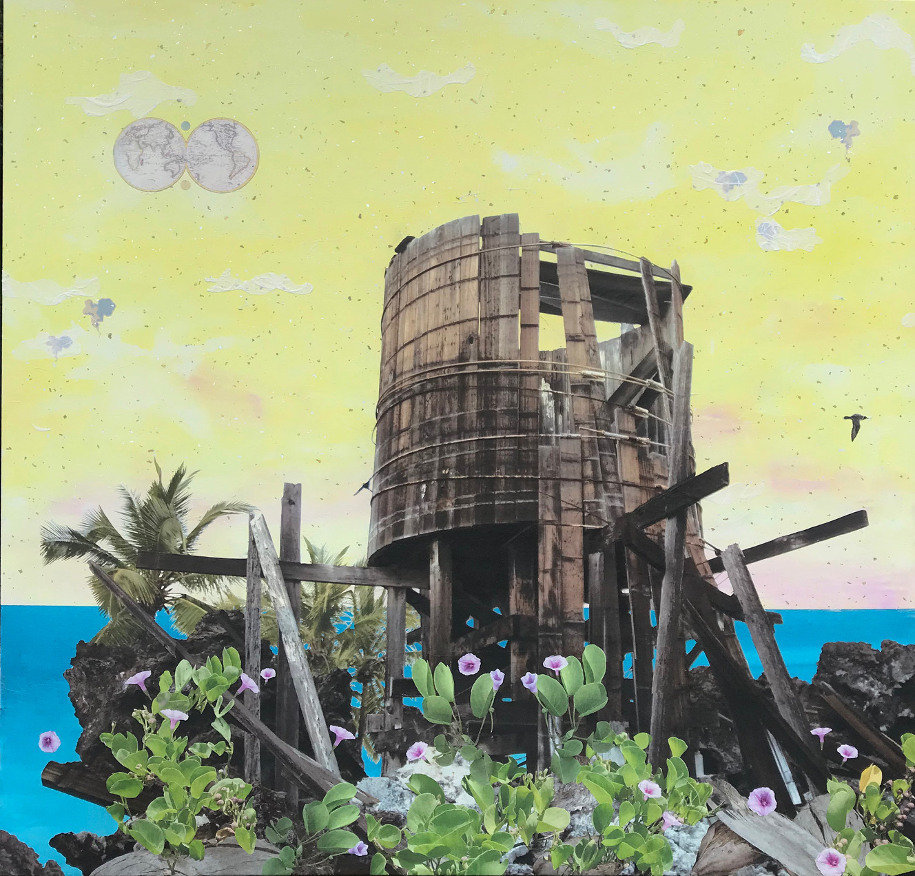 Painting of dilapidated water catchment tank. An atlas of the world in upper left corner.