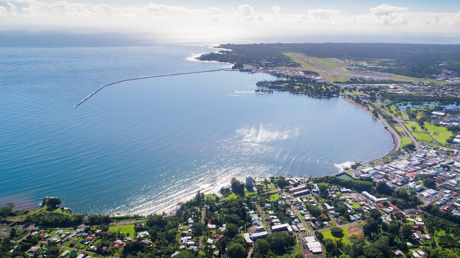 Aerial of Hilo Bay