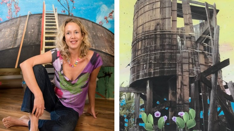 Margot Ray and her artwork, a catchment tank.