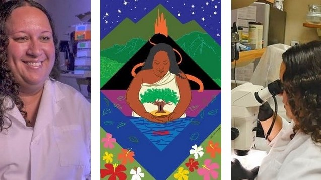 Three images: Narrisa Spies, the artwork of her, and Narissa in the lab.