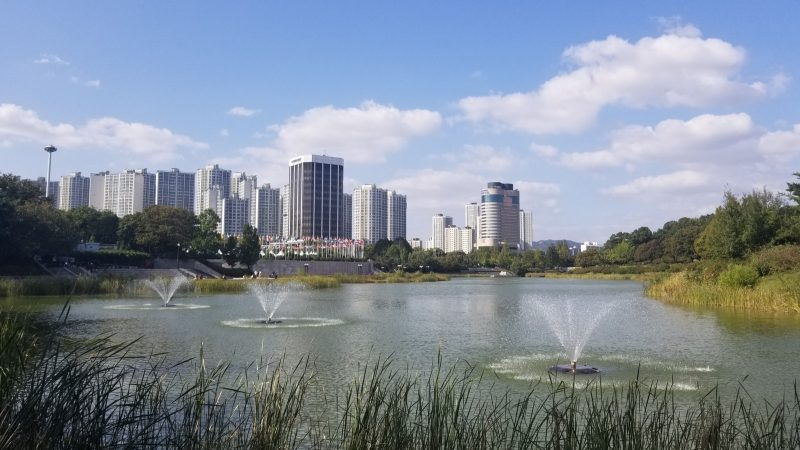 Large lake with fountains, city skyline in background.