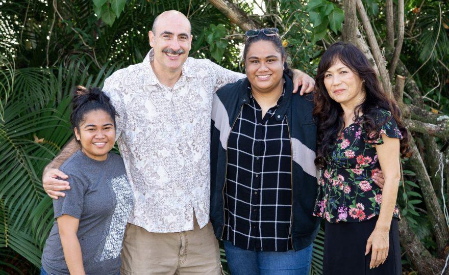 Standing in gardens for photo: Chelsea Pedro, Scott Saft, Fa'afalea'i Siliva, andYumiko Ohara.