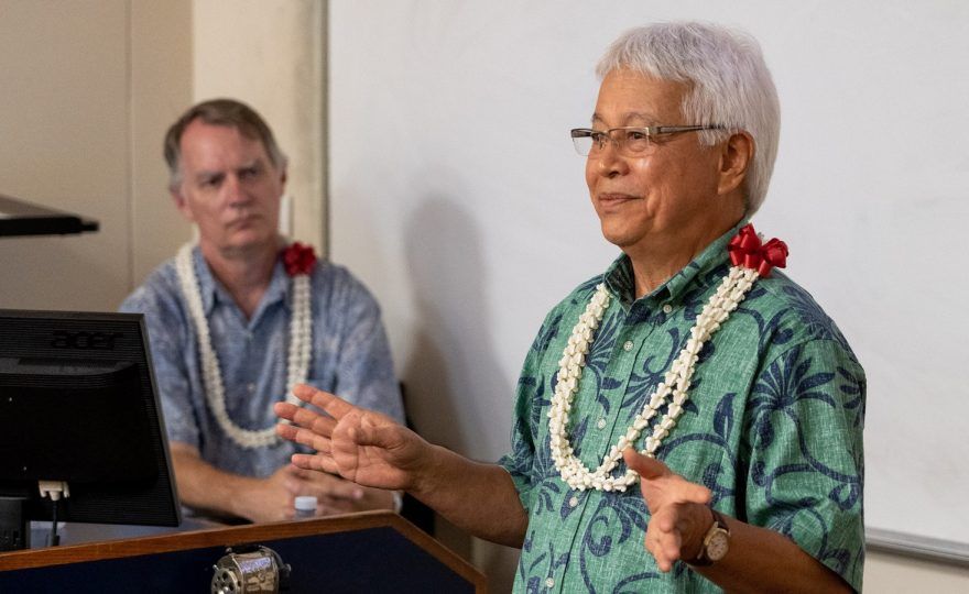 UH Hilo Hawaiian language scholar Larry Kimura and astronomer Doug Simons compare notes on Pō