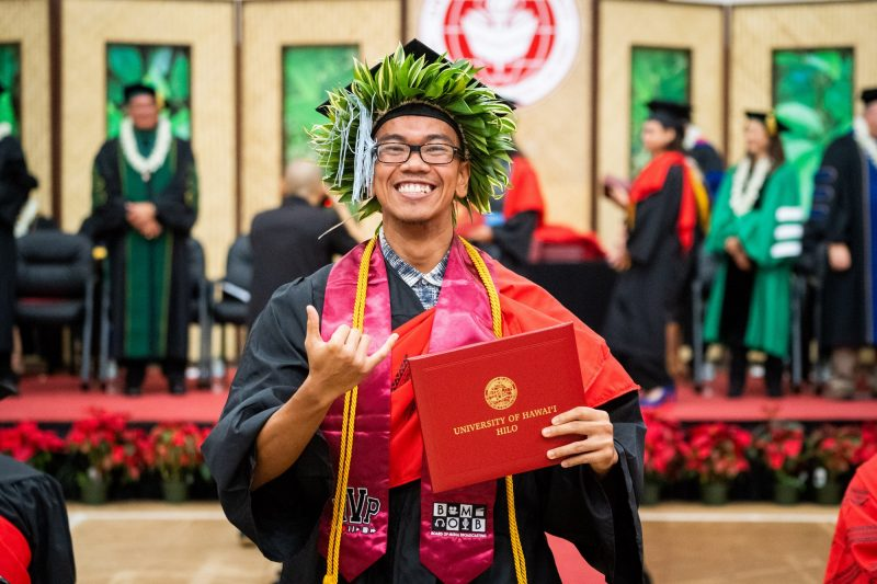 Man graduate with ti haku on mortarboard flashes shaka.