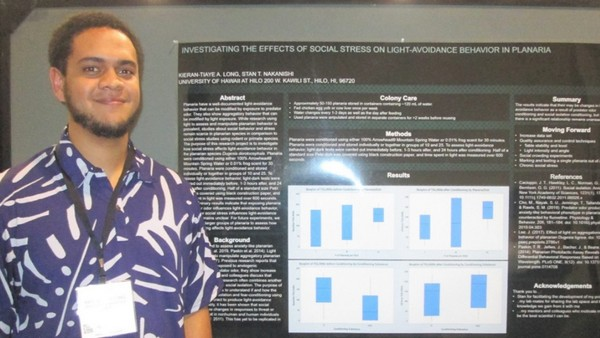 Kieran Tiaye stands next to his poster presentation on social stress.