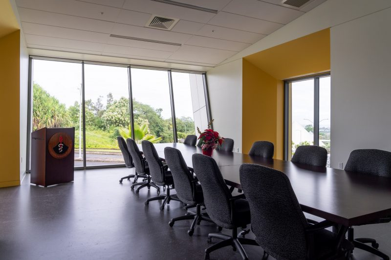 Conference room with view of gradens.