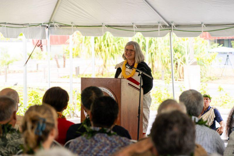 Bonnie Irwin at podium.