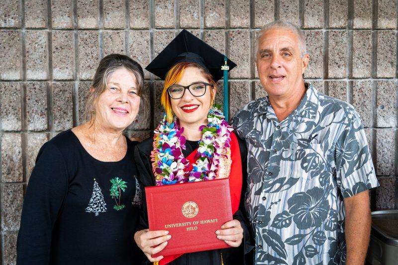 Parents with woman graduate.