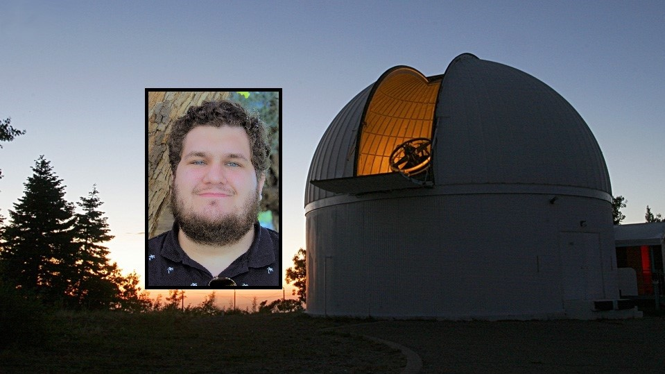 Photo of Teddy Pruyne inset into an image of the Catalina Sky Survey