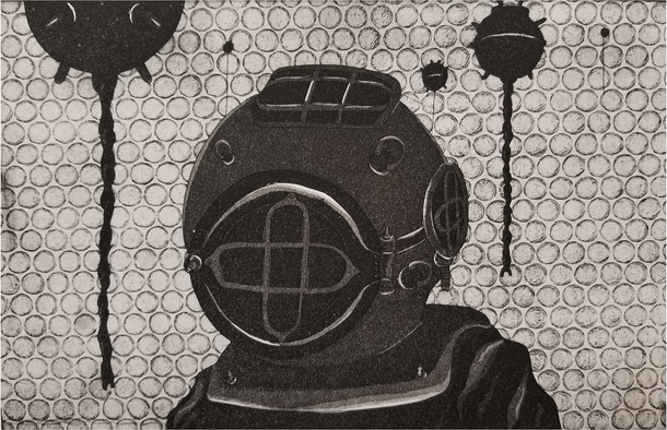 Print of diver with helmet diving suit, Dark gray browns.