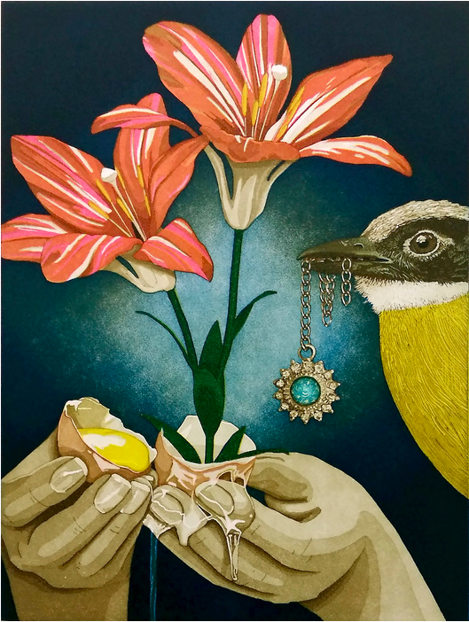 Print of yellow bird holding a piece of silver and turquoise jewelry, an orange lily with two blooms, and two hands breaking open an egg with flowers emerging forth. Background deep teal.
