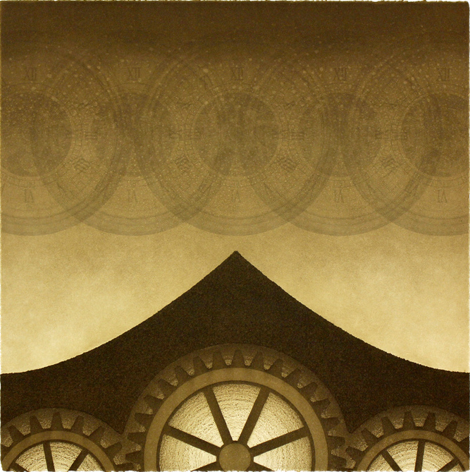 Print of geometrics, radiating circles and what looks like gears. Brown and amber coloring.