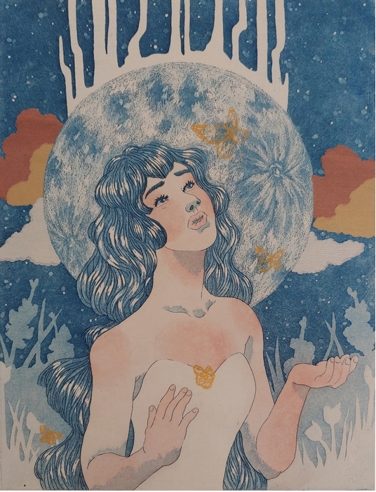 Print of woman with hands turned up to sky, botanical background, soft colors of blues and yellows.