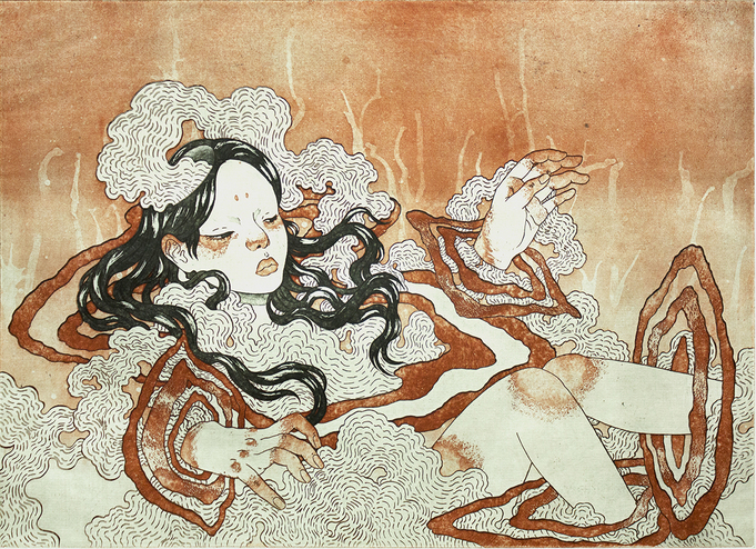 Print of woman covered in wiggly material showing only her hands, legs, face and hair. Brown colors, black hair.
