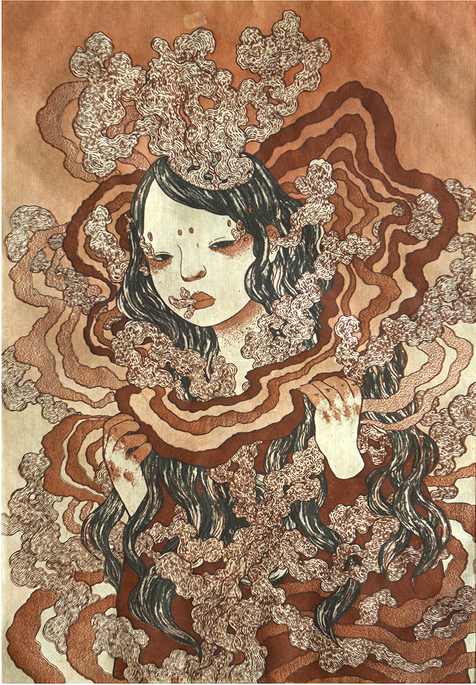 Female figure covered in wiggly material, she is upright with only face, hair, and hands showing. Brown colors with black hair.