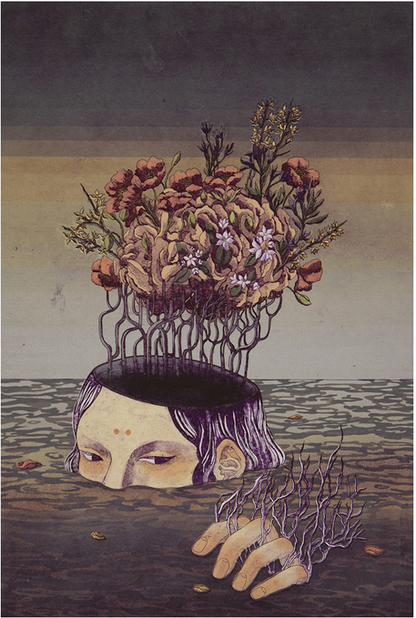 Print of woman's face partially submerged under water with plants and flowers coming out of the top of her head and partially submerged hand.