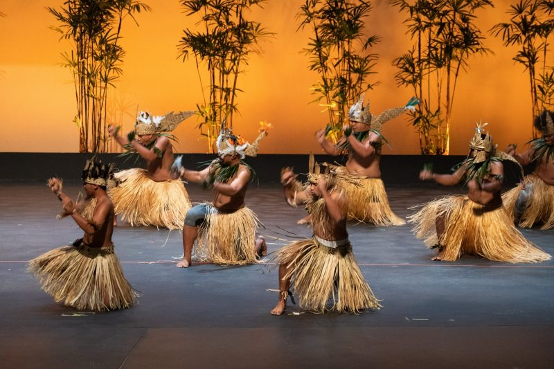 View of full stage of male dancers in grass skirts.