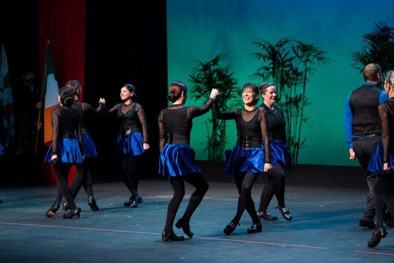 Female dancers, in twos.