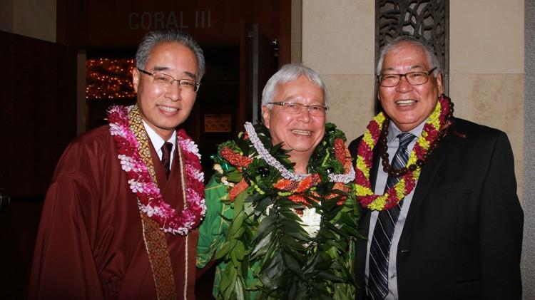 Larry Kimura, Eric Matsumoto and Pieper Toyama pose for photo.