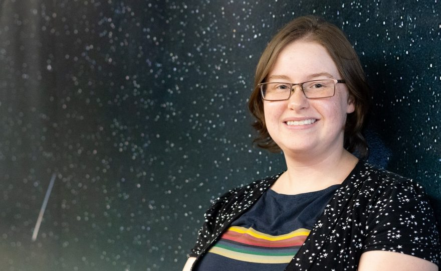 'Imiloa's planetarium technician Emily Peavy just earned her M.Ed. from UH Hilo, her thesis published in planetarium journal